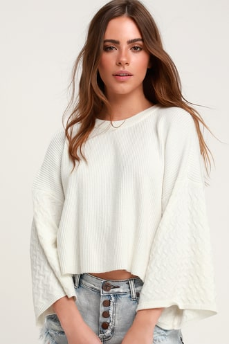 In the Mix Wide Sleeve Ivory Sweater 5f0ed2cd1