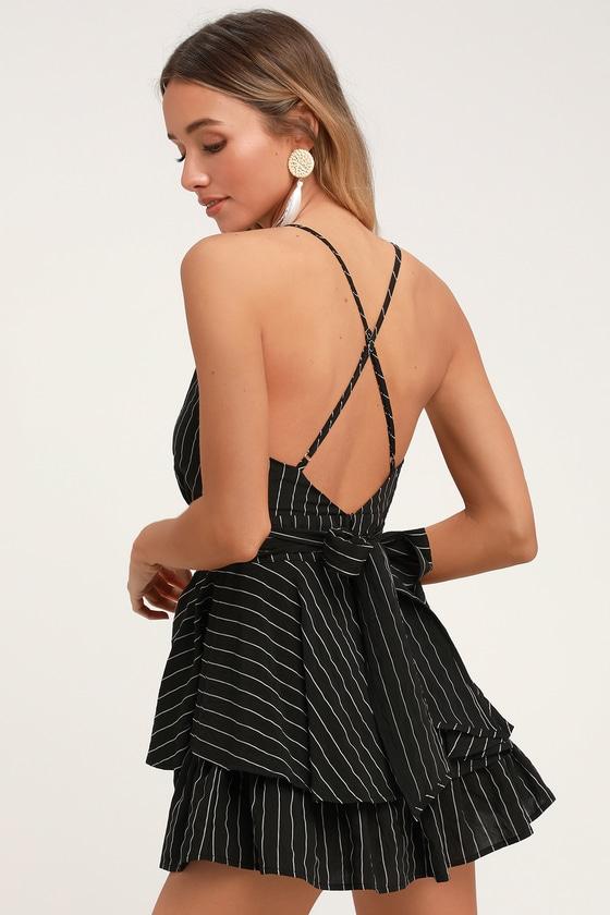 70913bb36 Cool Black Striped Romper - Ruffle Romper - Backless Romper