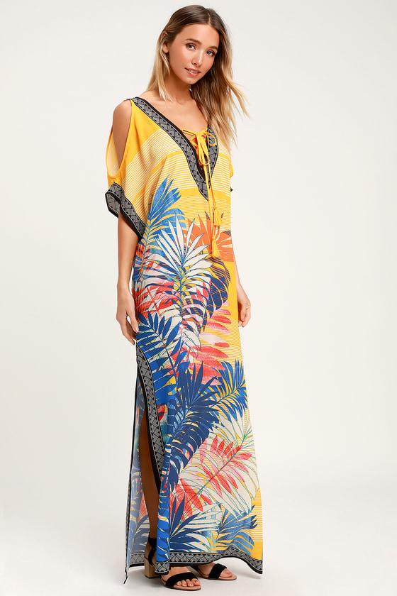 0d845aebb15 Totally Tropical Golden Yellow Tropical Print Kaftan Maxi Dress