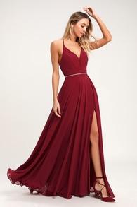 f4cb10fd2ac Stunning Lace-Back Maxi Dress - Burgundy Dress - Maxi Dress