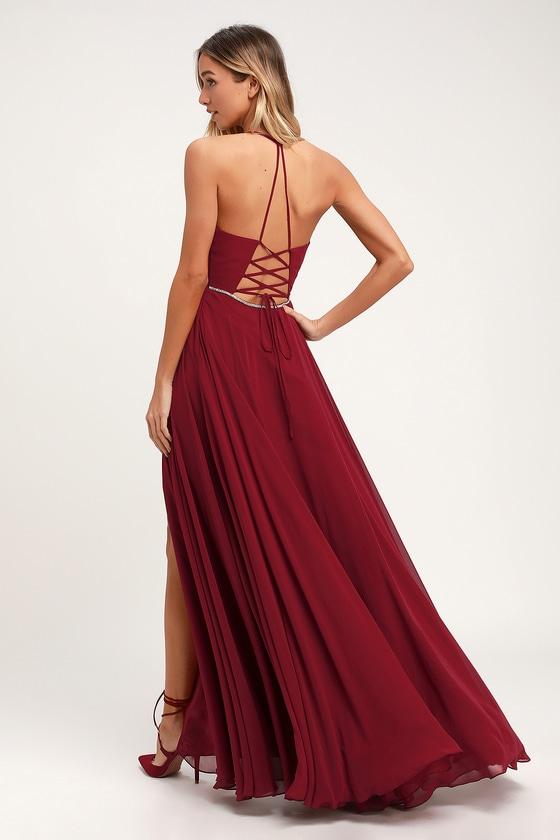 759c9217cf2d Stunning Maxi Dress - Wine Red Maxi Dress - Rhinestone Dress