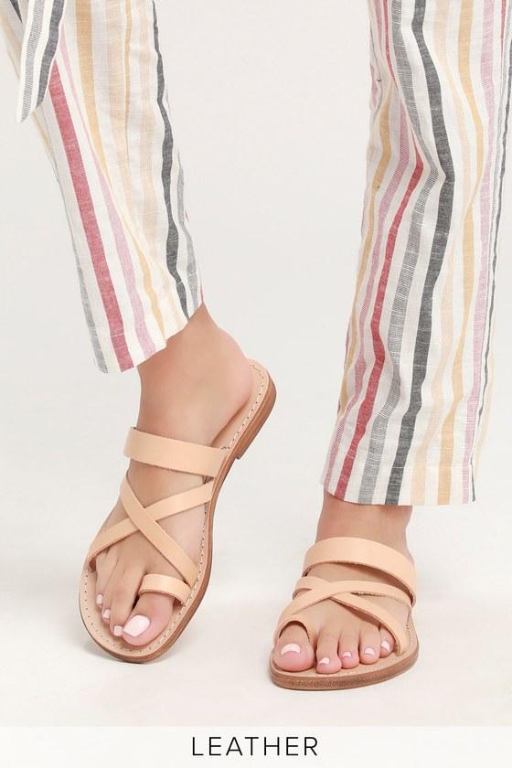 ee777657b6d1 Seychelles So Precious - Beige Flat Sandals - Vacchetta Leather