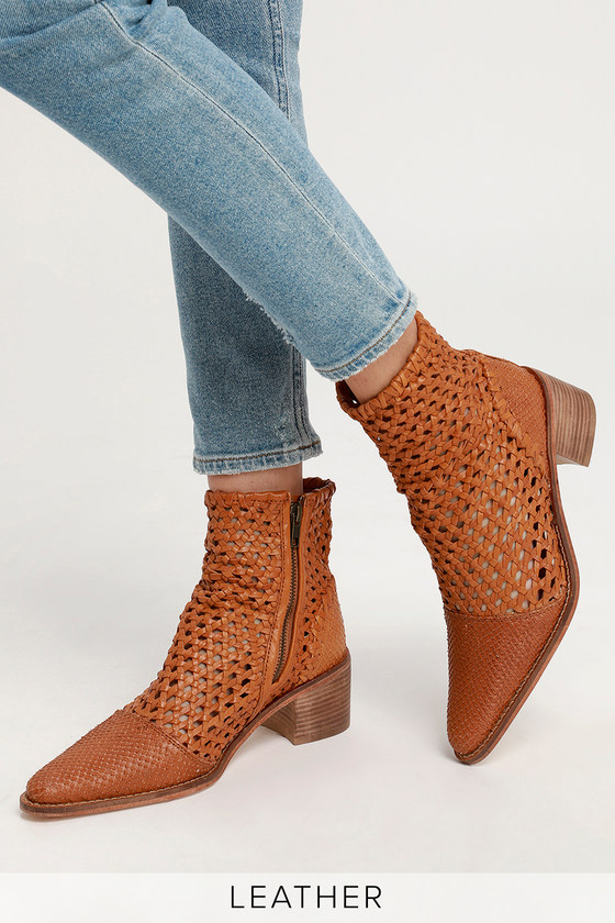 790a3836c Free People In The Loop - Woven Leather Boots - Tan Woven Boot