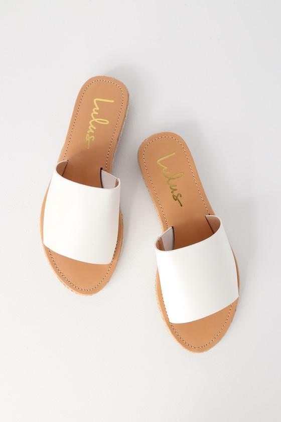 c4871afaecd Cute White Sandals - Slide Sandals - Espadrille Sandals