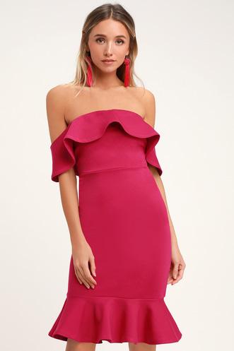 c93b151804a Confidence Boost Magenta Off-the-Shoulder Bodycon Midi Dress