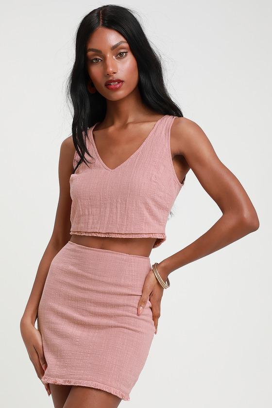 2f9464b45f Cute Mauve Dress - Two-Piece Dress - Crop Top and Skirt Set