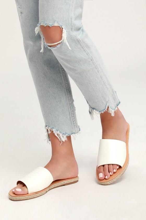 Cute White Sandals - Slide Sandals