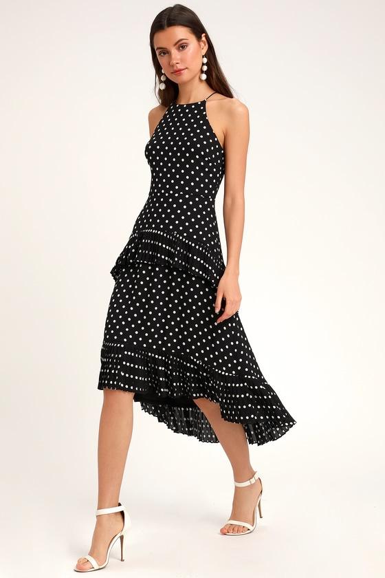 Black and white polka dot midi dress casual eaton centre