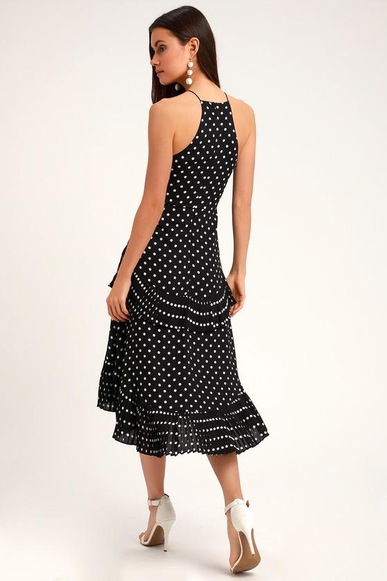 204bf65038 Cute Polka Dot Dress - Black and White Dress - Midi Dress