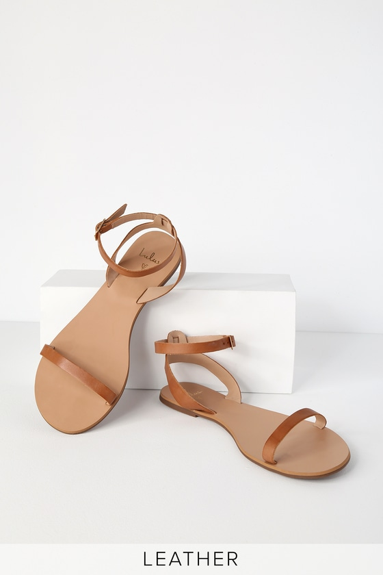 9044ae95d4a8f Lulus Colette - Cognac Nappa Leather Sandals - Ankle Strap Shoes