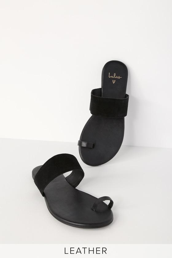 6a5382653 Cute Black Sandals - Toe Loop Sandals - Flat Sandals