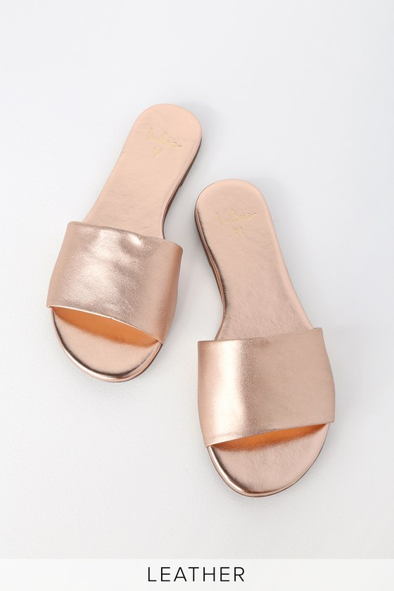 e3c28d69e20ee Cute Slide Sandals - Rose Gold Slide Sandals - Leather Slides