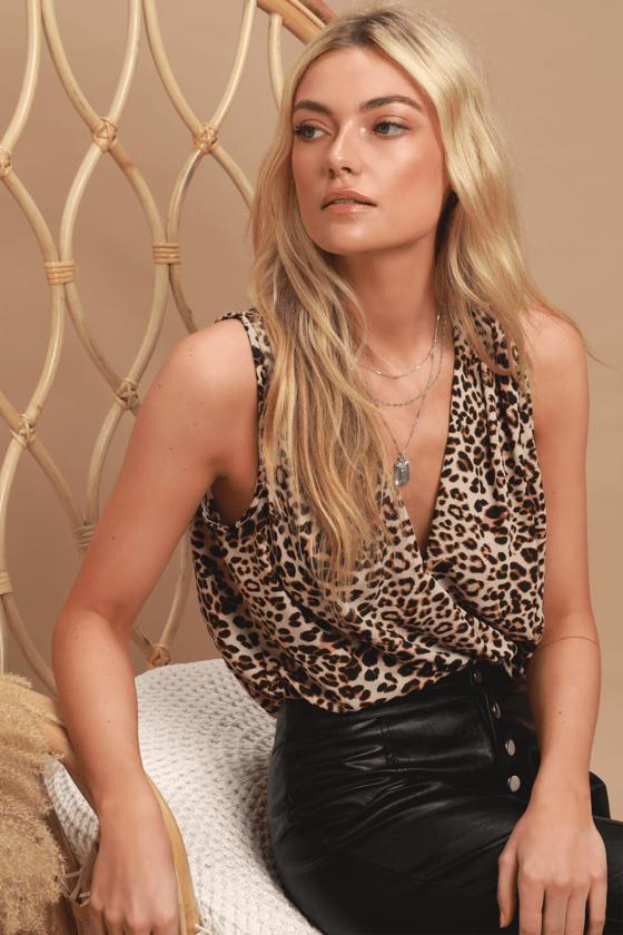 Leopard Print Bodysuit - Surplice Bodysuit - Leopard Bodysuit fba86f8ca