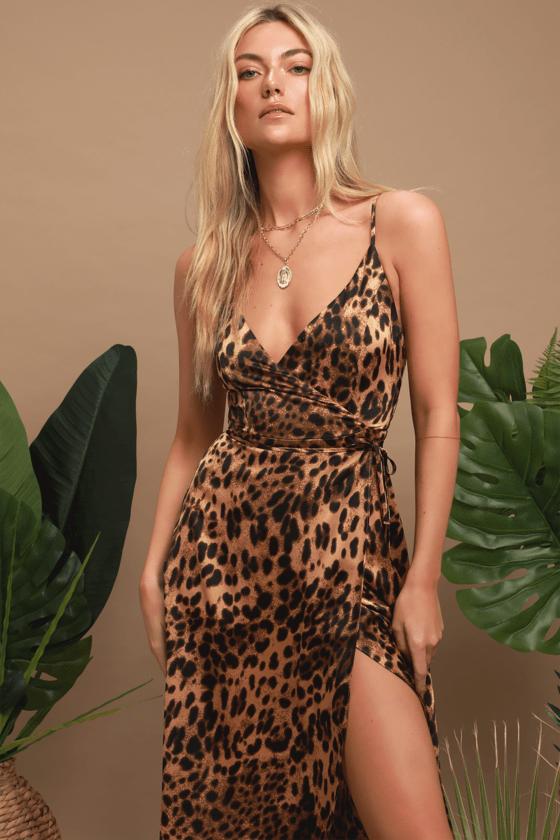Sexy Leopard Print Maxi Dress Satin Dress Wrap Dress