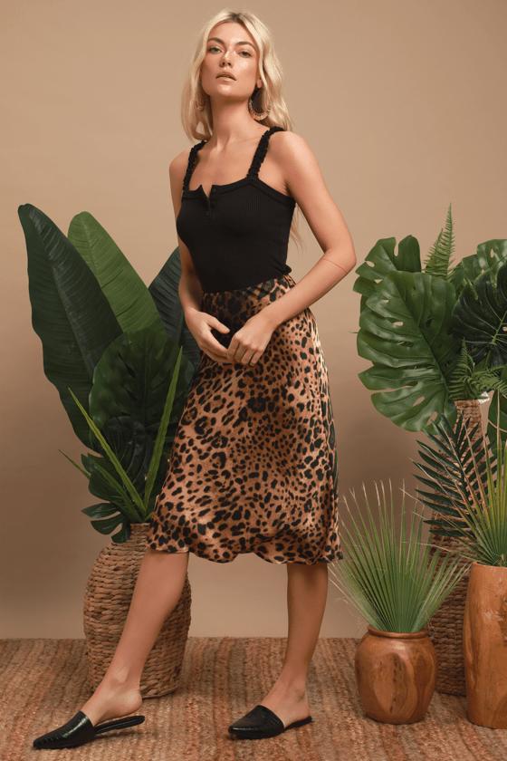 78568ec36033 Chic Brown Leopard Print Skirt - Satin Skirt - Midi Skirt