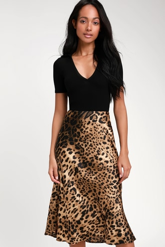 6e0dfb210af Wild Wonder Brown Leopard Print Satin Midi Skirt