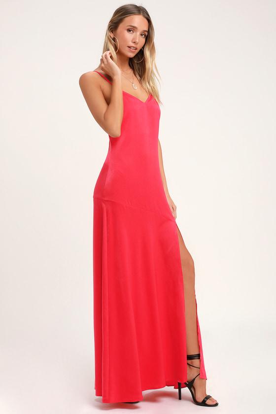 a40ca4f190 Sexy Satin Maxi - Drop Skirt Dress - Red Maxi Dress