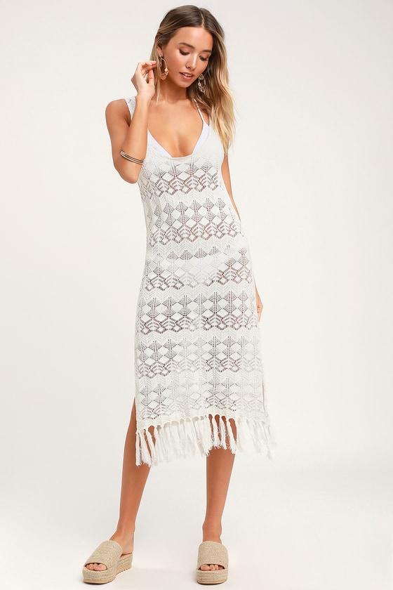 673822965f Boho Cream Swim Cover-Up - Crochet Swim Cover-Up - Dress