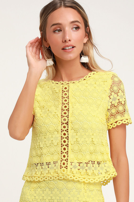 Cute Yellow Top Lace Top Crochet Lace Top Lace Crop Top