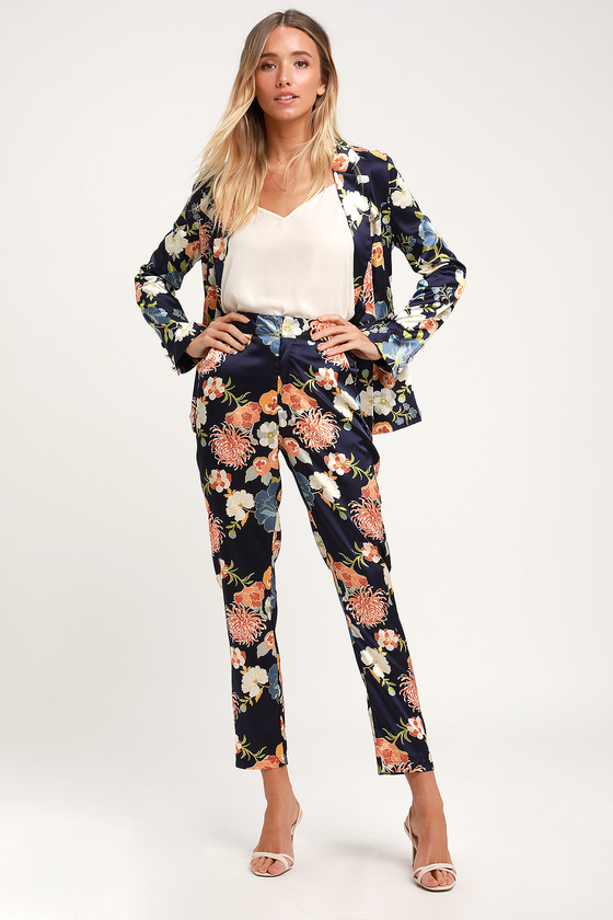 Floral The Way To The Top Navy Blue Floral Print Satin Trousers by Lulu's