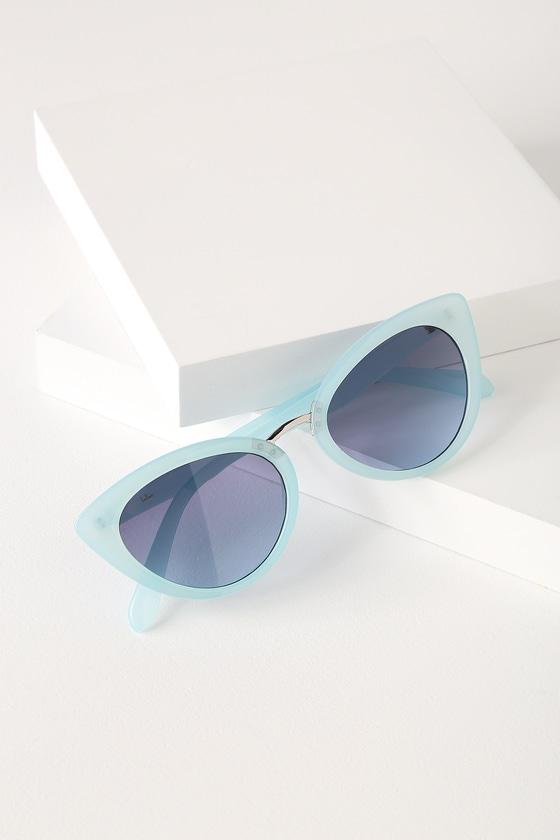 Retro Sunglasses | Vintage Glasses | New Vintage Eyeglasses Swerve Blue Cat-Eye Sunglasses - Lulus $10.00 AT vintagedancer.com