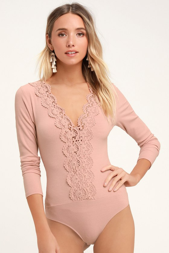 71e550f60bf Blush Pink Bodysuit - Lace Bodysuit - Ribbed Long Sleeve Bodysuit