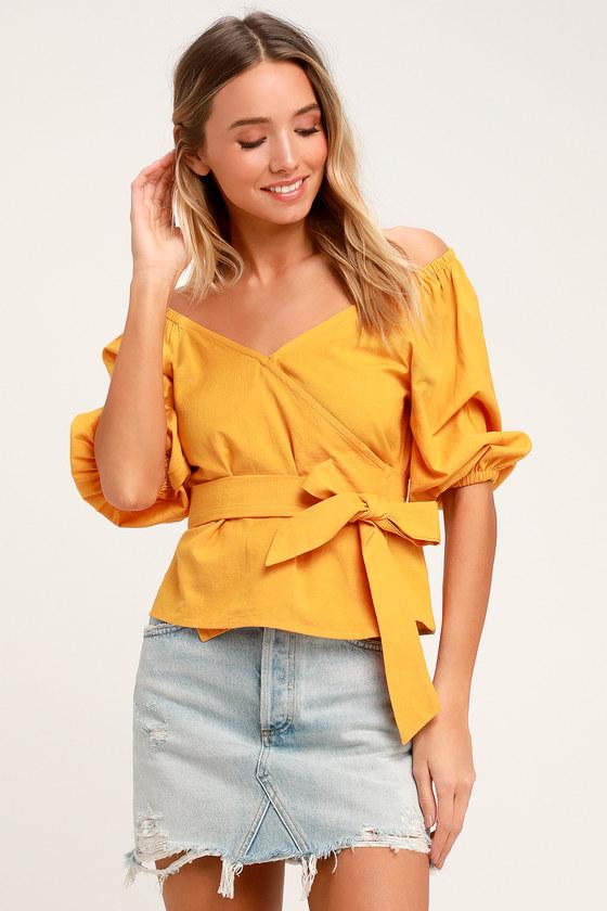 670db85797698 Billabong New Lust - Mustard Yellow Wrap Top - Blouson Blouse