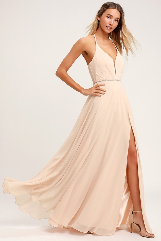 0145e253cbb5 Stunning Maxi Dress - Nude Maxi Dress - Rhinestone Dress