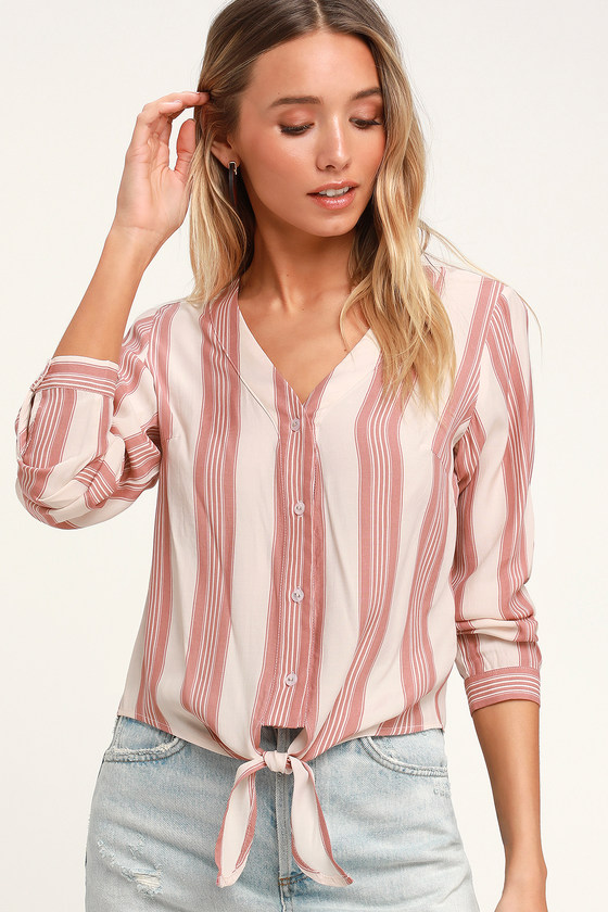 80d9144e2e349 Cool Blush Striped Top - Long Sleeve Top - Tie-Front Top
