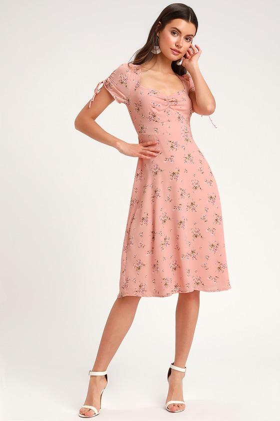 48377265b842 Blush Pink Floral Print Dress - Midi Dress - Short Sleeve Dress