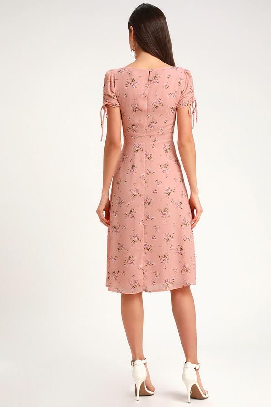 29f7ff8a240c Blush Pink Floral Print Dress - Midi Dress - Short Sleeve Dress