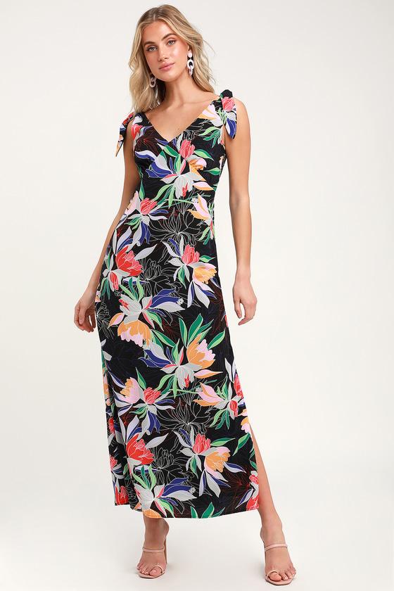 b6819cba21c5 Pretty Black Floral Print Dress - Tie Knot Dress - Maxi Dress