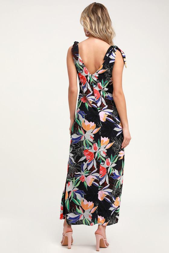 0968a189a44 Pretty Black Floral Print Dress - Tie Knot Dress - Maxi Dress