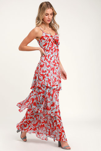 Saturday Sunrise Red and Blue Floral Print Tiered Maxi Dress 95fc67e9e