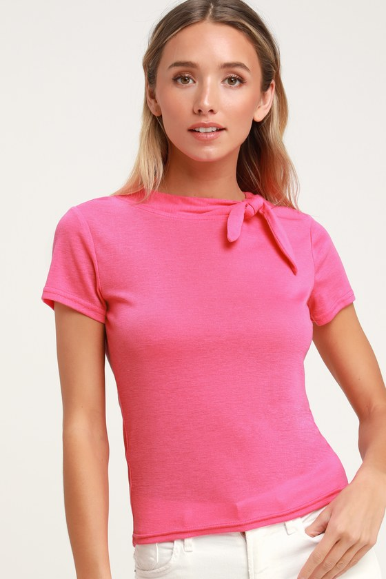 Vintage & Retro Shirts, Halter Tops, Blouses Laughing Laurie Bright Pink Tie-Neck Tee - Lulus $52.00 AT vintagedancer.com