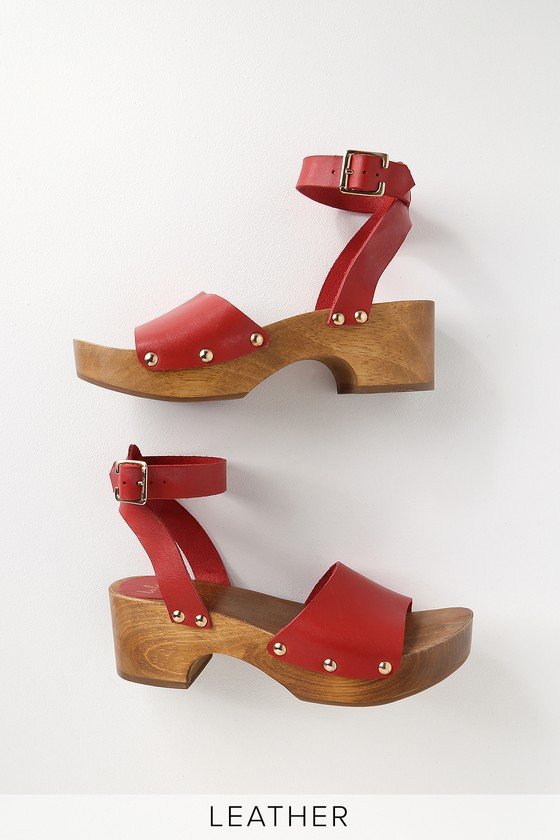 Chic Leather Red Open Toe Clog Sandals Clogs Yb6gf7y