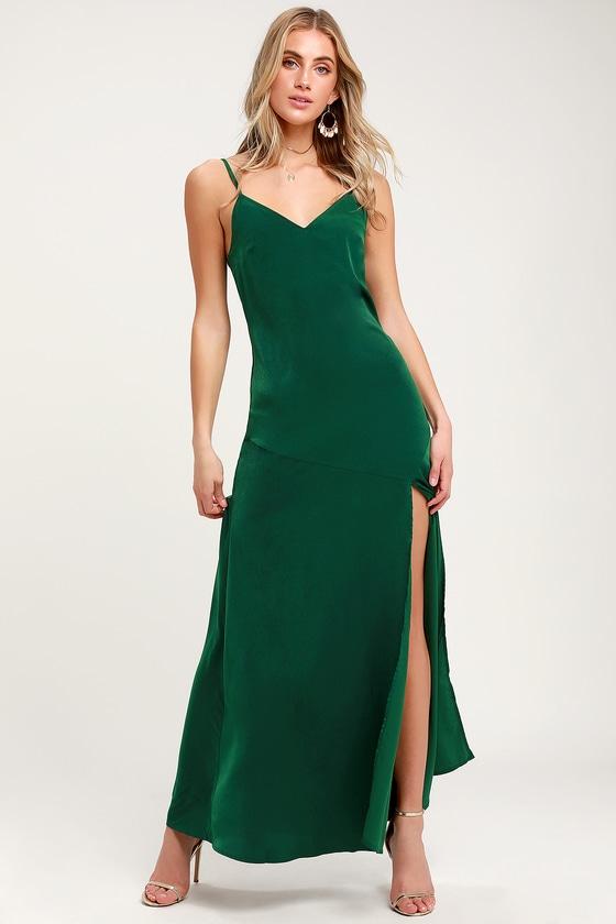 13cd1d1f7f6c Sexy Satin Maxi - Drop Skirt Dress - Emerald Green Maxi Dress