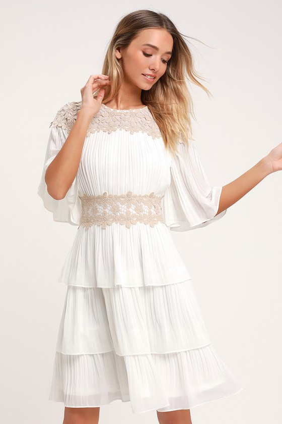 Westwind White Lace Pleated Dress