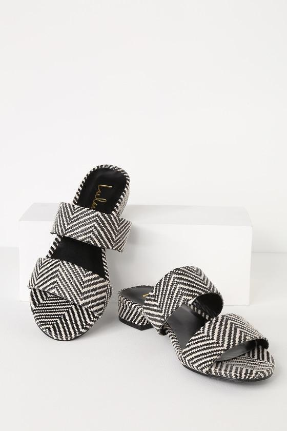 8bd268fff87 Decker White and Black Woven Slide Sandals