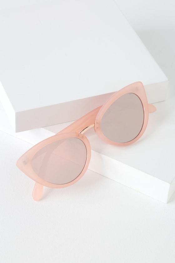 Retro Sunglasses | Vintage Glasses | New Vintage Eyeglasses Swerve Pink Mirrored Cat-Eye Sunglasses - Lulus $10.00 AT vintagedancer.com