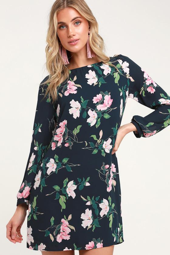 a4ed0f29dbad Pretty Navy Floral Print Dress - Shift Dress - Long Sleeve Dress
