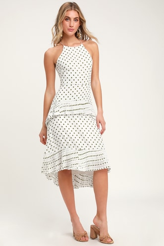 e4574c208dc3 Envy White and Green Polka Dot Ruffled Midi Dress