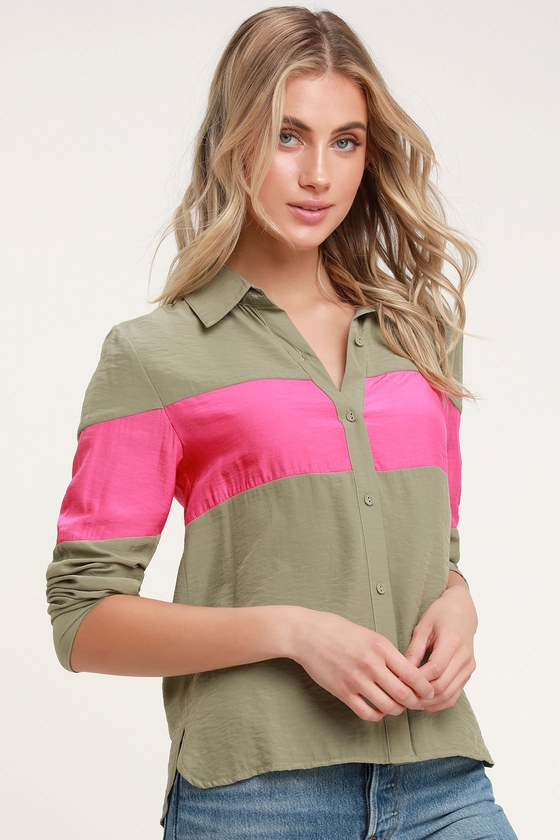 Voyage Fuchsia And Olive Green Stripe Button Up Top by Honey Punch