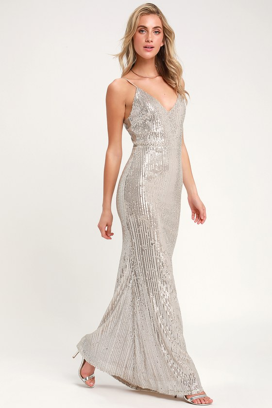 e25db722 Sexy Sequin Dress - Silver Sequin Dress - Sequin Maxi Dress