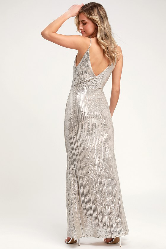 75bf0deafe Sexy Sequin Dress - Silver Sequin Dress - Sequin Maxi Dress
