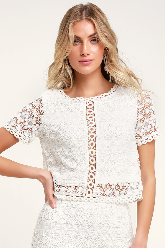 Sweet Style White Crochet Lace Crop Top by Lulus