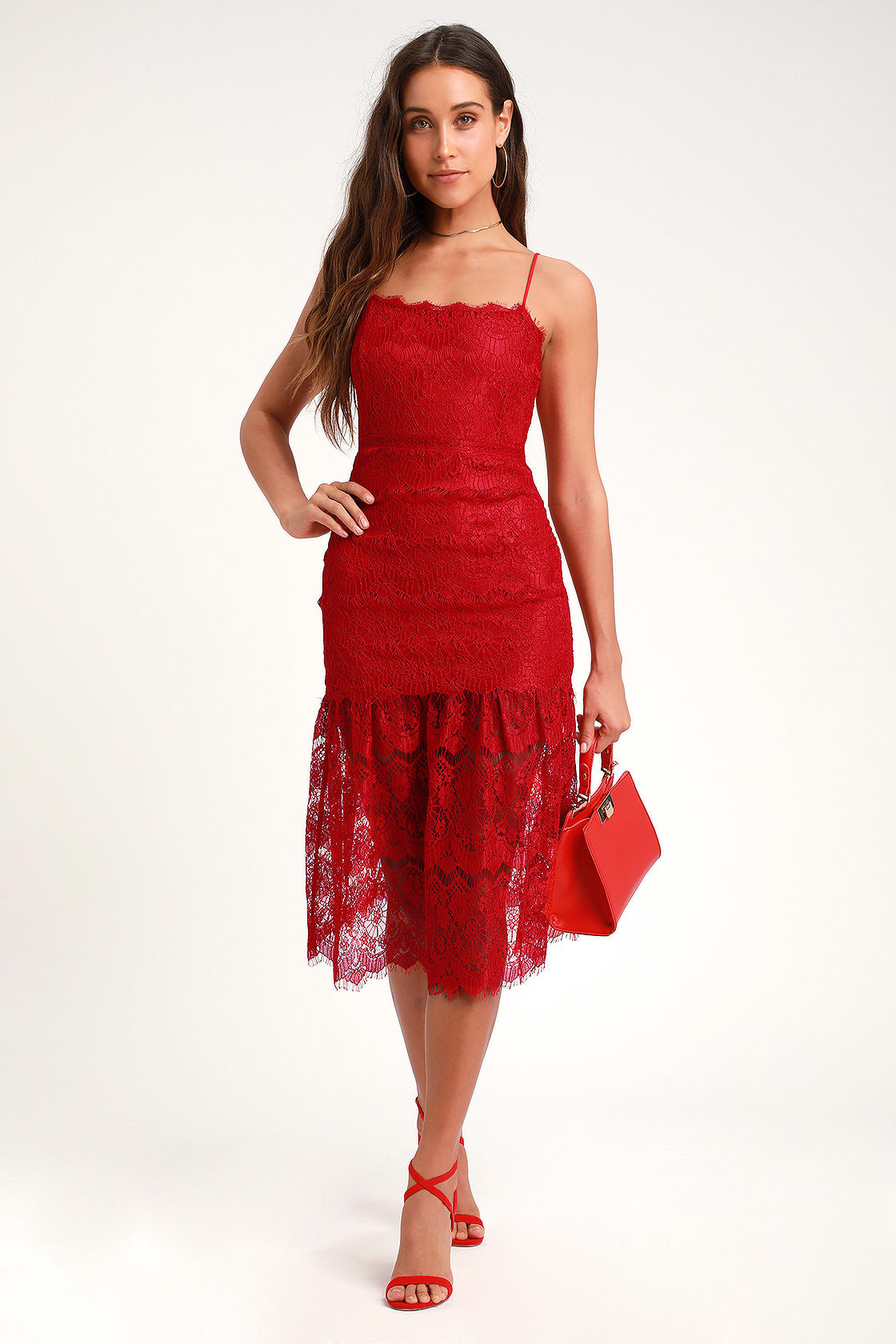 3c73a7a359 LULUS. Wagner Red Lace Sleeveless Midi Dress