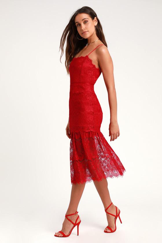 812099f4d009d Lovely Red Dress - Lace Dress - Midi Dress - Sleeveless Dress