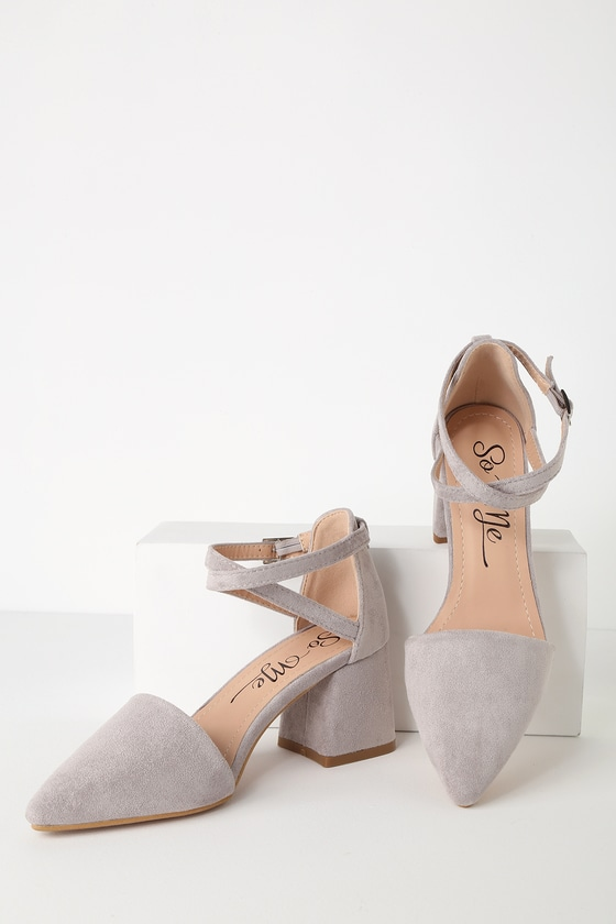 253a73e7ee7 Cute Suede Ankle Strap Pumps - Pointed Toe Pumps - Grey Heels