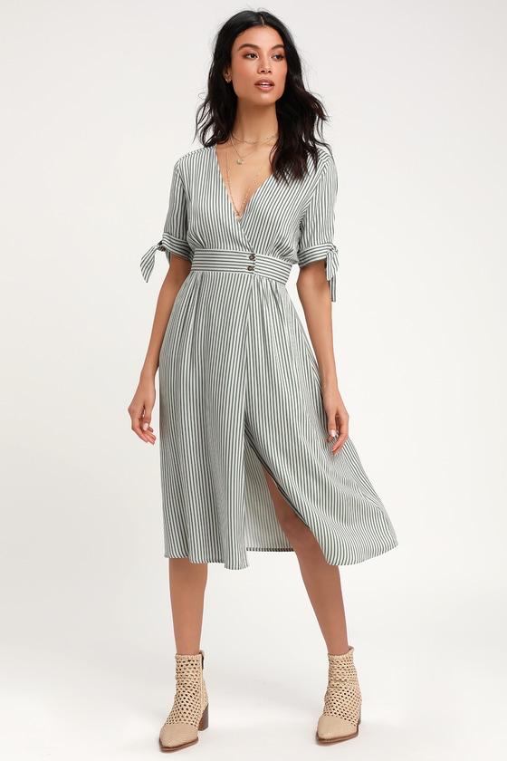 60fed39c756 Lovely Green Striped Dress - Striped Wrap Dress - Midi Dress